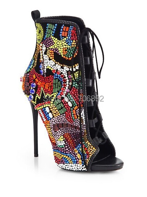 Peep Toe Lace Up Rhinestone Ankle Boots,thin High Heels Colorful
