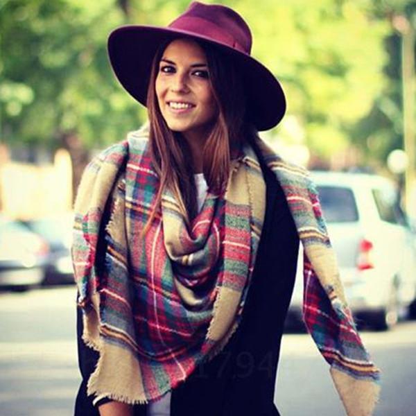 Женщины большой размер кашемир тип шотландка плед шарф толстый основная упаковка шаль рождественский подарок WJ002
