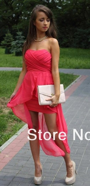 Free Shipping New Fashion Sexy Mini Strapless Chiffon Front Short Long Back Cocktail Dresses 36orders