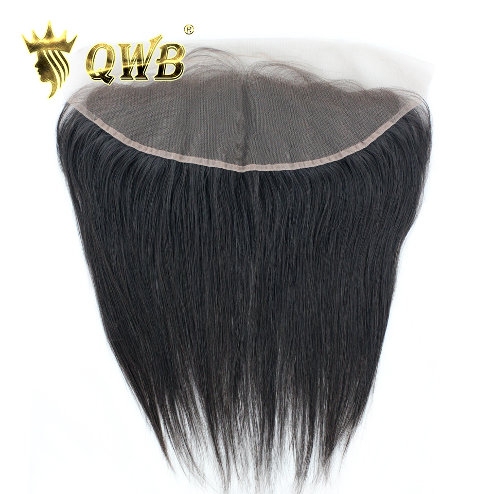 Free Parted QWB Straight 13''x4'' Lace Frontal Brazilian Virgin Hair With Baby Hair Design 100% Cuticle Intact Human Hair