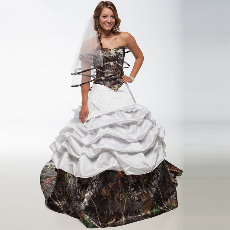 White With Camo Wedding Dresses : White camo wedding dresses ball gown with court train camoflage