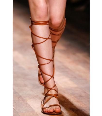 Hot 2015 10MM APHRODITE Brown LEATHER GLADIATOR SANDALS women genuine leather sandals fashion women flat sandals<br><br>Aliexpress