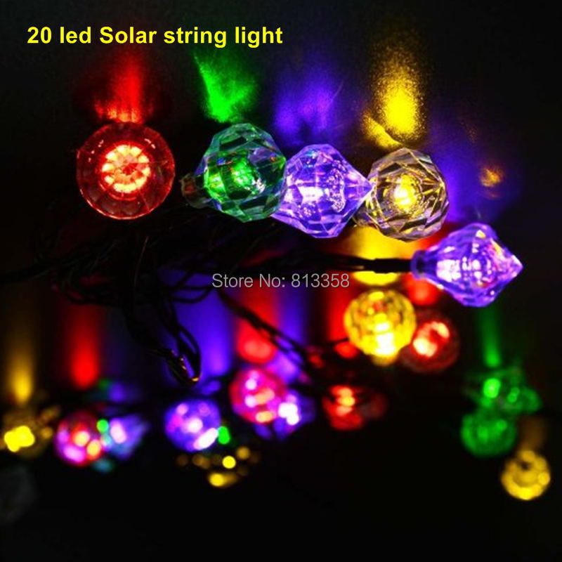 1set 20 led Bright Solar Powered Led String Light Fairy Starry lights Flower Decorative Indoor Outdoor Garden Christmas Tree(China (Mainland))