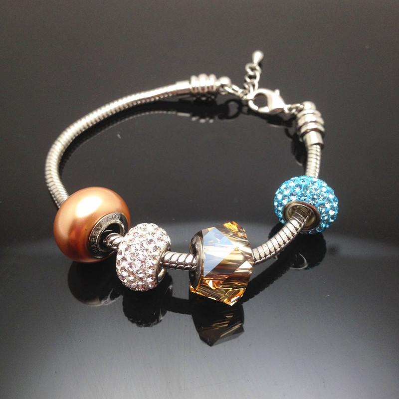 2016 unique new SWAROVSKI Crystal Charm Bracelet Bead pan DIY style Dora Thanksgiving Day(China (Mainland))