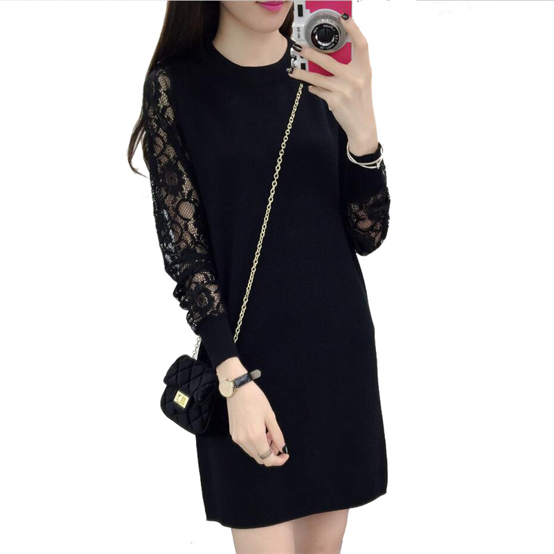 Fashion New Summer Dress Lace Long Sleeve Sexy Club Women Stripe Dress Slim Bodycon Knitted Sweater Black Female Dresses SUN122(China (Mainland))