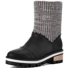 2016 Mujeres de La Manera de Tobillo Botas de Plataforma de la Cuña de Piel de Conejo Nueva Moda A Prueba de agua Nieve Del Invierno Caliente Patea Los Zapatos Para FemaleZT724(China (Mainland))