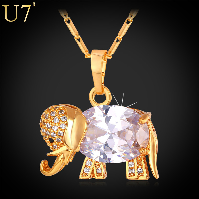 Western Design Cute Elephant Necklace Trendy 18K Real Gold/Platinum Plated AAA Zirconia Pendant Necklace Lucky Jewelry P562(China (Mainland))