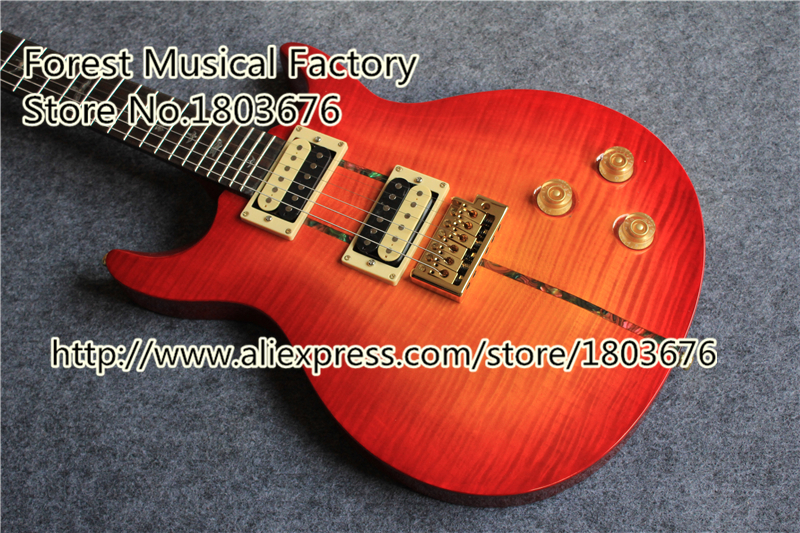 Top Quality Cherry Tiger Flame Top Custom 24 Santana PRS Electric Guitars Chinese OEM Guitar Body & Kit Available(China (Mainland))