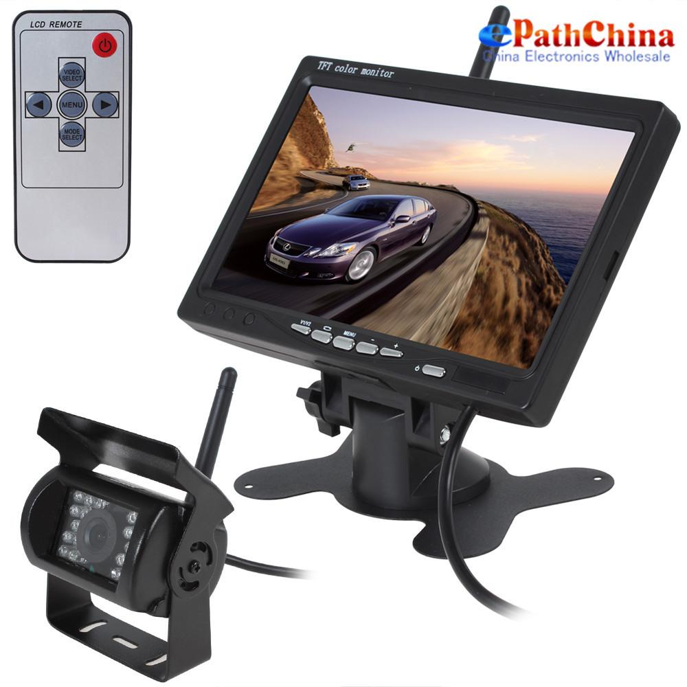 2.4GHz Wriessless 7 Inch 800 x 480 TFT LCD Screen Car Rear View Monitor + 420TVL CMOS IR NIght Vision Back Up Camera(China (Mainland))