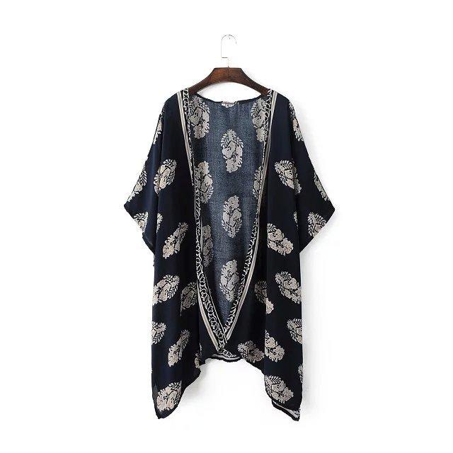 Women's Cloak 2016 New Leaves printing bat sleeve cloak Fifth Sleeve Long Cloak Ladies Tops 2053(China (Mainland))