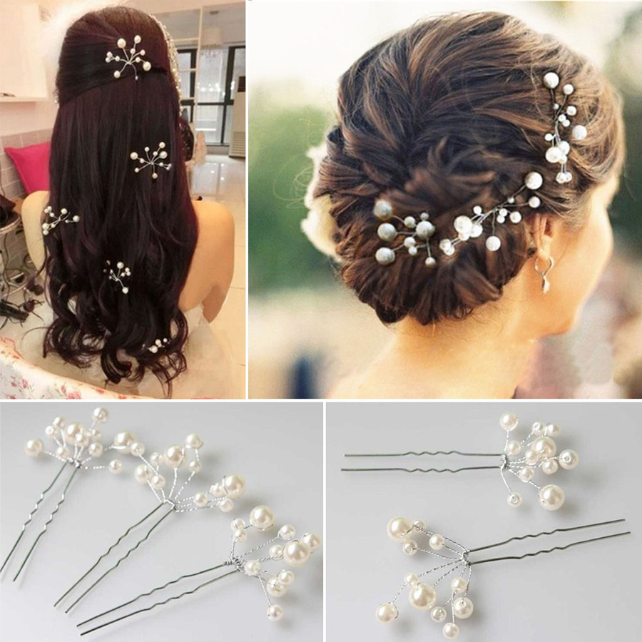 WD# Hot 6Pcs/set Wedding Bridal bridesmaid Pearl Flower Headpiece Hair Pin Hairpin Accessories Jewelry Free Dropship/Wholesale(China (Mainland))