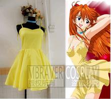 Neon Genesis Evangelion Asuka Langley Soryu Yellow Dress Cosplay Costum