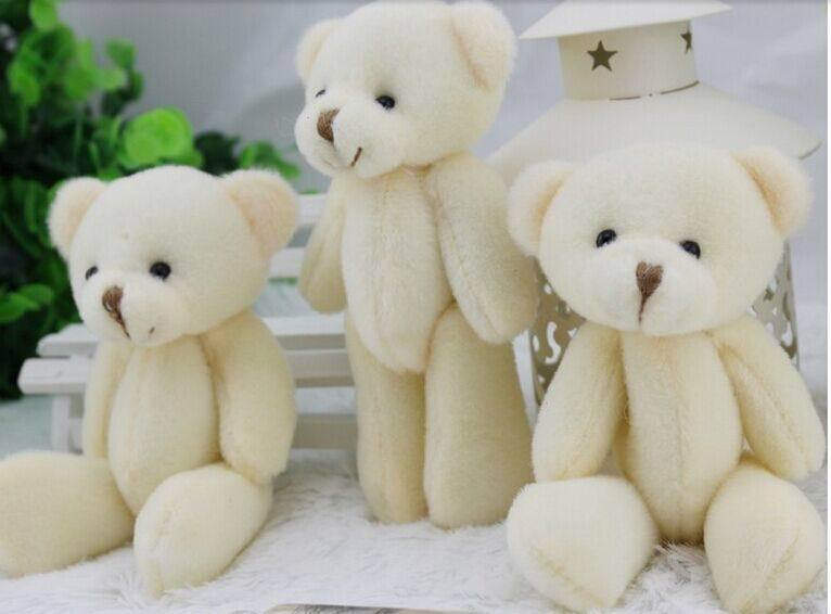 12pcs free shipping 12CM plush stuffed toy cartoon joint bear bouquet packaging material joint mini teddy bear white color(China (Mainland))