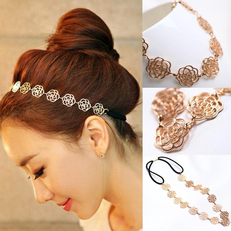 Womens Fashion Metal Chain Jewelry Hollow Rose Flower Elastic Hair Band Headband Jewelry Drop Shipping Headwear-0019(China (Mainland))