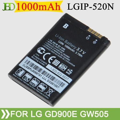 100Pcs/Lot High Quality LGIP-520N 1000mAh Mobile Phone Battery For LG GD900E GW505 BL40 BL40E GM600S Free Shipping(China (Mainland))