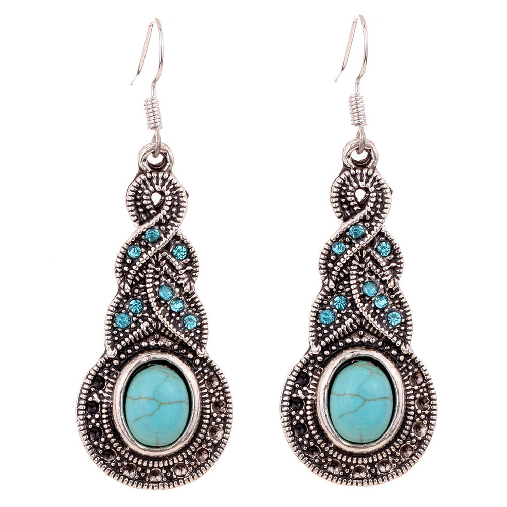 Summer Fine and Fashion Jewelry Charming Ethnic Tibetan Silver Oval Turquoise Style Drop Dangle brincos Earrings for Women(China (Mainland))
