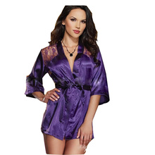 2015 New Summer Style Hot Sale Sexy Lingerie Satin Lace 4 Colors Kimono Intimate Sleepwear Robe Night Gown SB099(China (Mainland))
