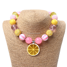New 6Pcs/Lot Chunky Beads Cute Lemon Slice Chunky Necklace Princess Bubblegum Necklace for Children Girls Jewelry