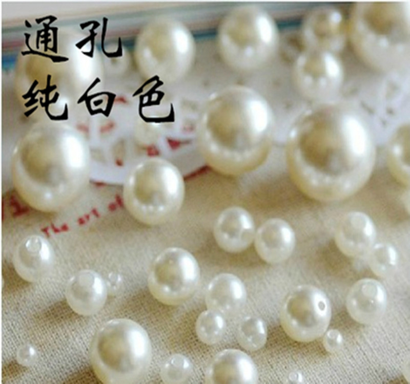 DIY manual material beaded manufacturers ABS acrylic beads scattered imitation pearls with hole white(China (Mainland))