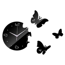 Butterflies fluttering Home Decoration 3D Mirror Wall Clocks Safe Modern Design DIY Large Digital Watch Wall Sticker TV backdrop