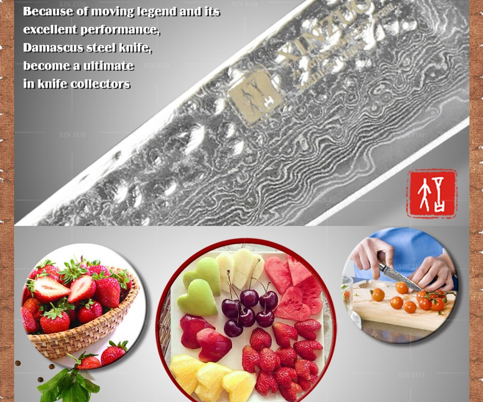 """Buy XINZUO 73 layers 3.5"""" paring knife Japanese Damascus steel kitchen knife fruit knife  with Color wood handle free shipping cheap"""