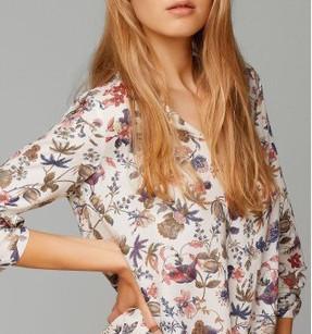 2015 Women Fashion Blusas Femininas Vintage Floral Print Shirts Lady Tops Casual V-neck Long Sleeve Blouse MRK 475(China (Mainland))