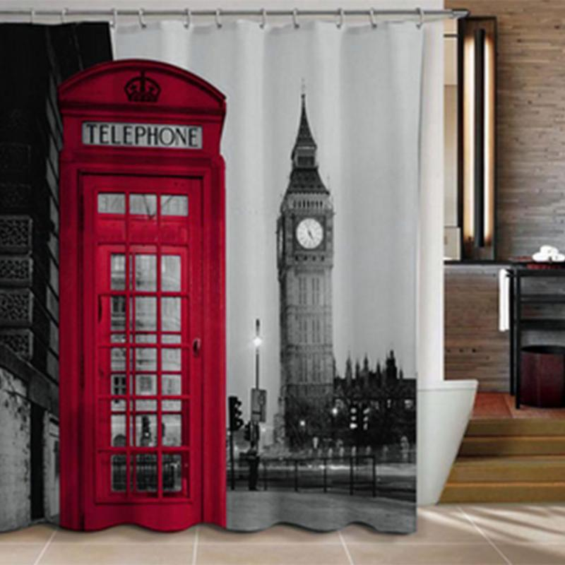 Famous City Landmark Pattern London Big Ben Polyester Shower Curtain Waterproof Home Bathroom Curtains New(China (Mainland))