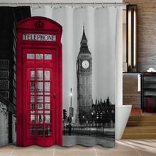 Famous City Landmark Pattern London Big Ben Polyester Shower Curtain Waterproof Home Bathroom Curtains New(China (Mainland))
