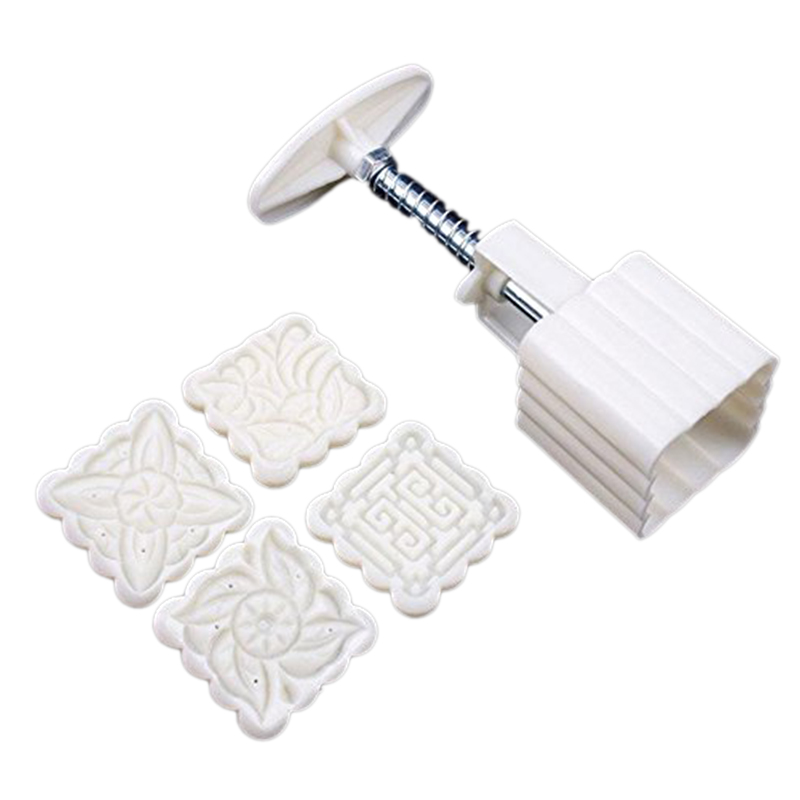 Nice Mooncake Moon Cake Square Mold Mould Flowers Plants 4 Stamps Home Kitchen Cooking Tools(China (Mainland))