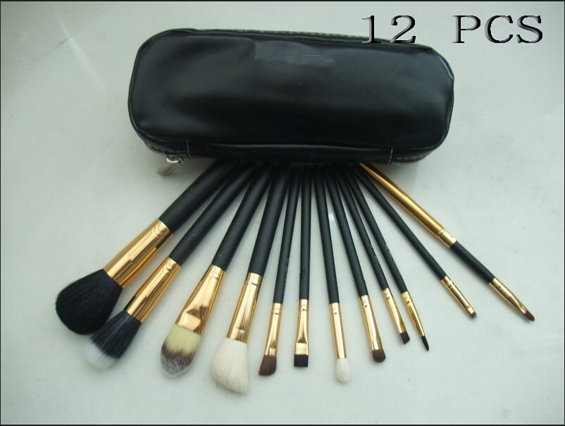 10sets/lot Free shipping dhl/ems 12 pcs Professional Makeup Brush Set With Leather bag(China (Mainland))