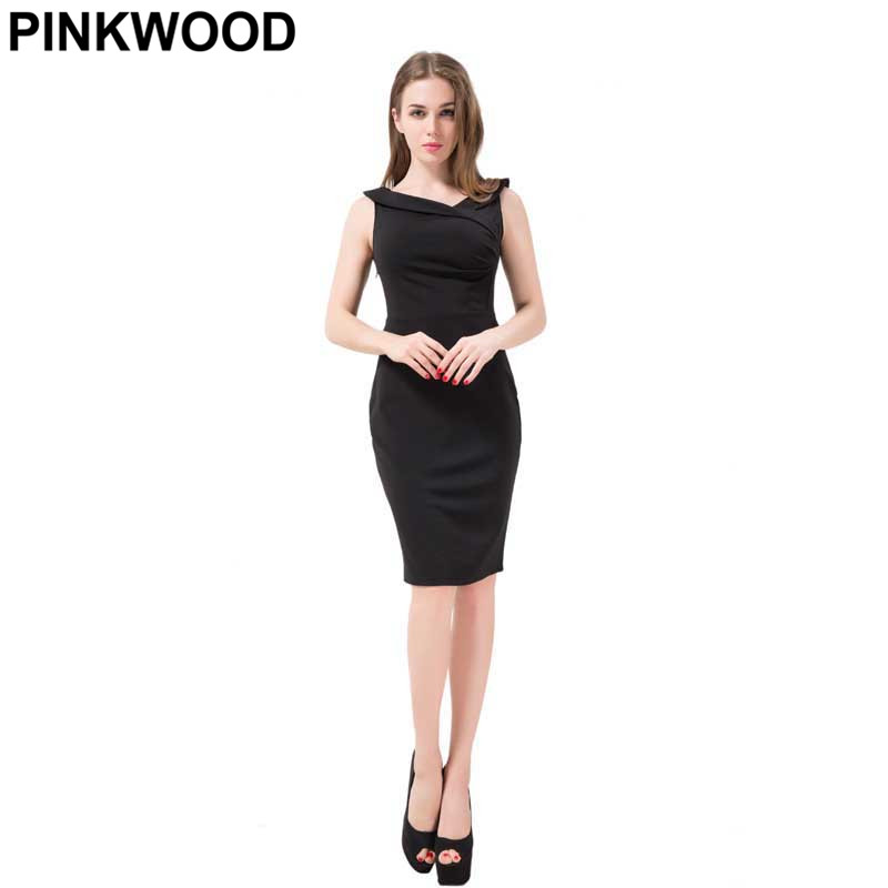 PINKWOOD Women Sleeveless Midi Dress 2016 Summer Office Solid V Neck Elegant Knee Length Bodycon Formal Dress(China (Mainland))