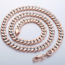 7MM MENS Womens Chain Plain Cut Curb Cuban Necklace 18K Silver Rose Gold Filled Necklace 18KGF