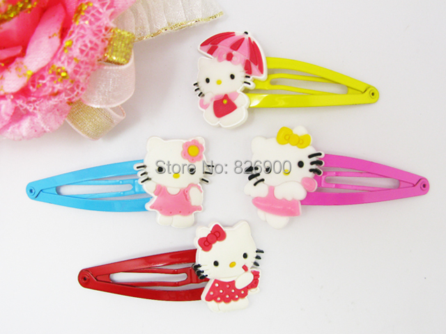 8 Hello Kitty Hair Clip (Free shipping 8 pieces) Soft Rubber Hair Clips Girl Children Favors Barrette ALK224 Wholesale(China (Mainland))