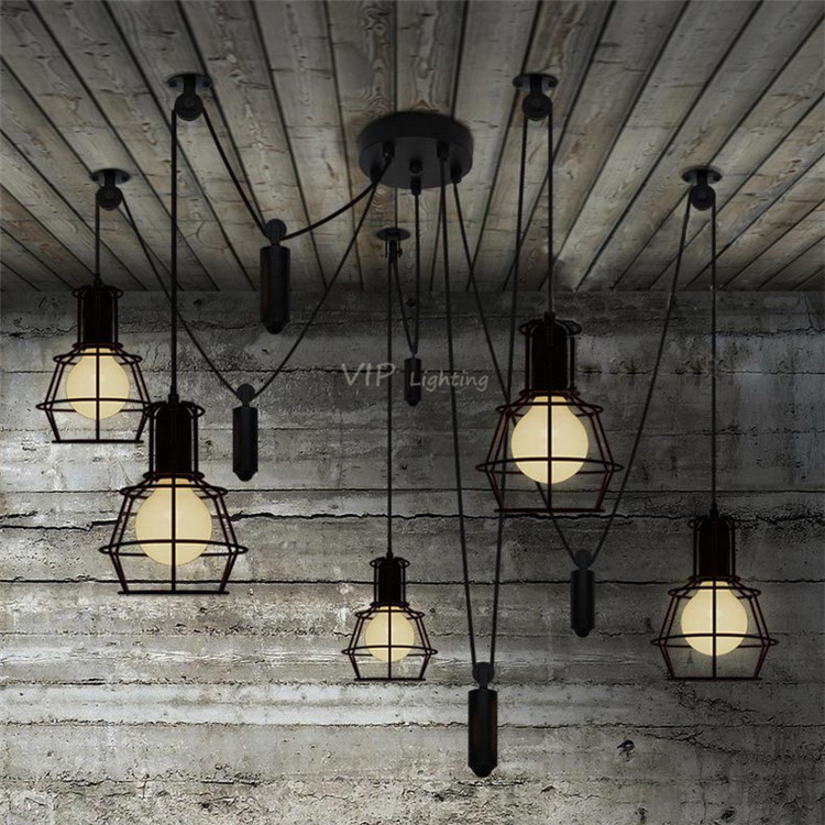 Muuto Art home Deco America country Loft style lights Antique cage light for Restaurant Cafe Bar living room Edison Pendant Lamp(China (Mainland))