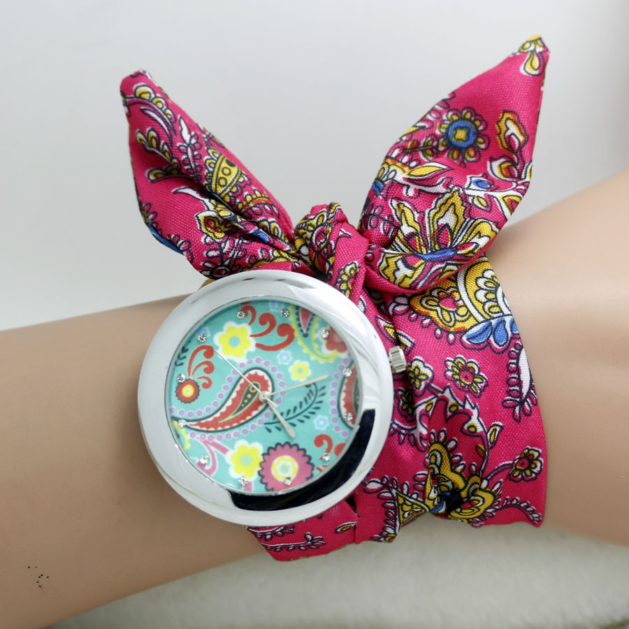 2014 floral chiffon sweet girls watch Sweet chiffon fabric women dress watches fashion quartz female ladies gift(China (Mainland))