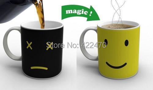 Magic Morning Mug Heat Sensitive Color Change Coffee Mug Cup Free Shipping 1 Pcs(China (Mainland))