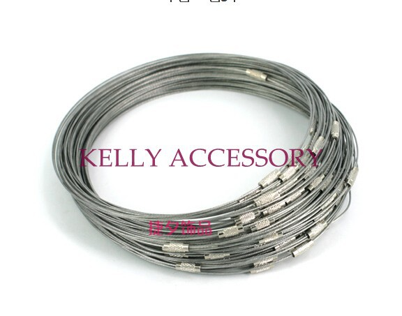 18 Inch 300PCS/LOT Olive Stainless Wire Cable 1MM Steel Chain Cord Necklace Screw Clasp Free shipping(China (Mainland))