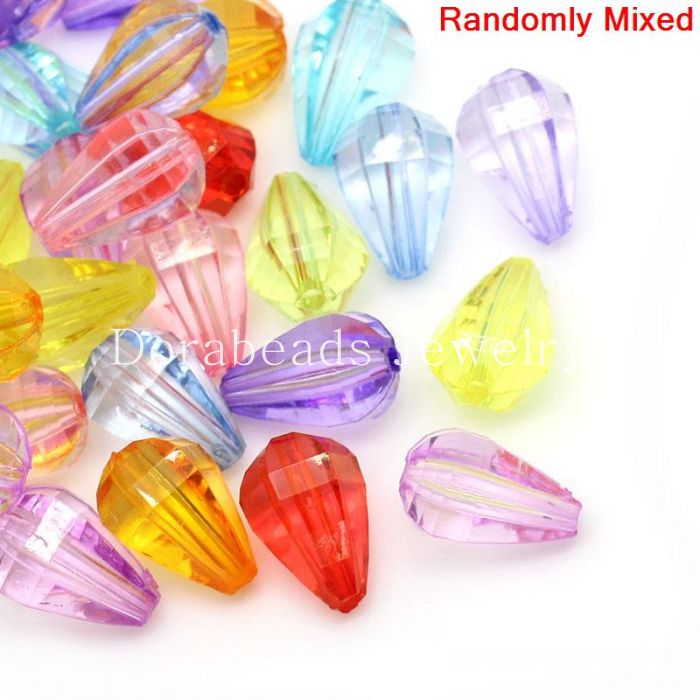 Free Shipping! Acrylic Spacer Beads Teardrop Mixed Faceted 10x11mm,Hole:Approx 1.8mm,100PCs (B27677)(China (Mainland))