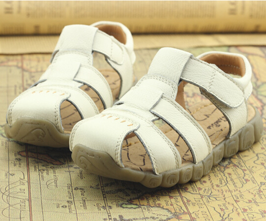 Baby Boys Genuine Cowhide Leather Beach Sandals Shoes 2015 New Summer Kids Toddlers Boys Fisherman Sandals(China (Mainland))