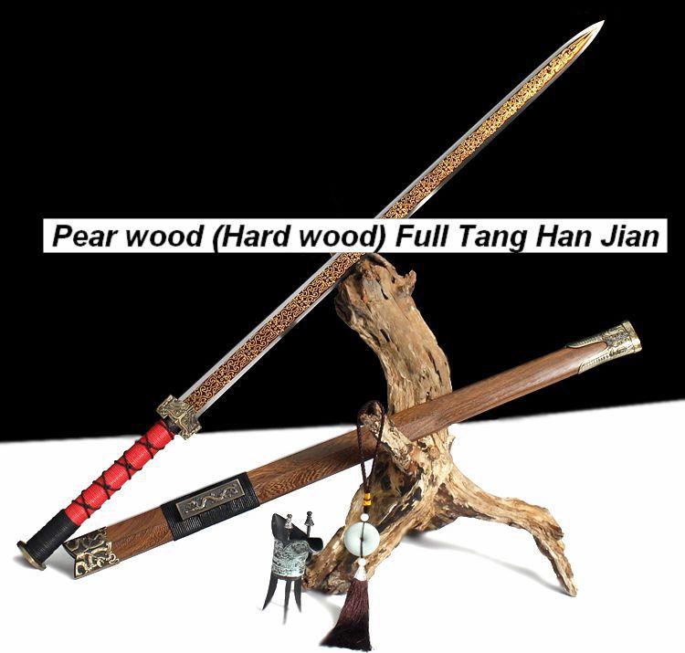 Handmade Hand Forged flower sheath steel Sharp Chinese Sword Han Jian Long Quan Jian(China (Mainland))