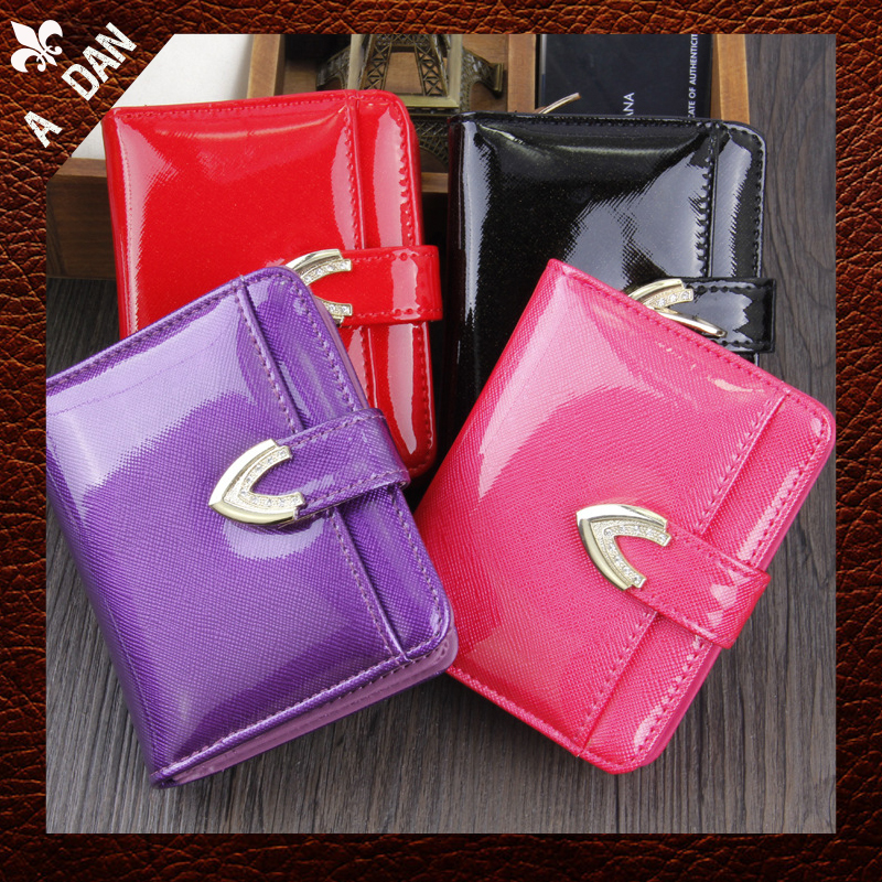 Square Patent Leathe New Arrived 2014 Women coin purse 4 color Small diamonds hasp pocket short design brand Wallets party bags <br><br>Aliexpress
