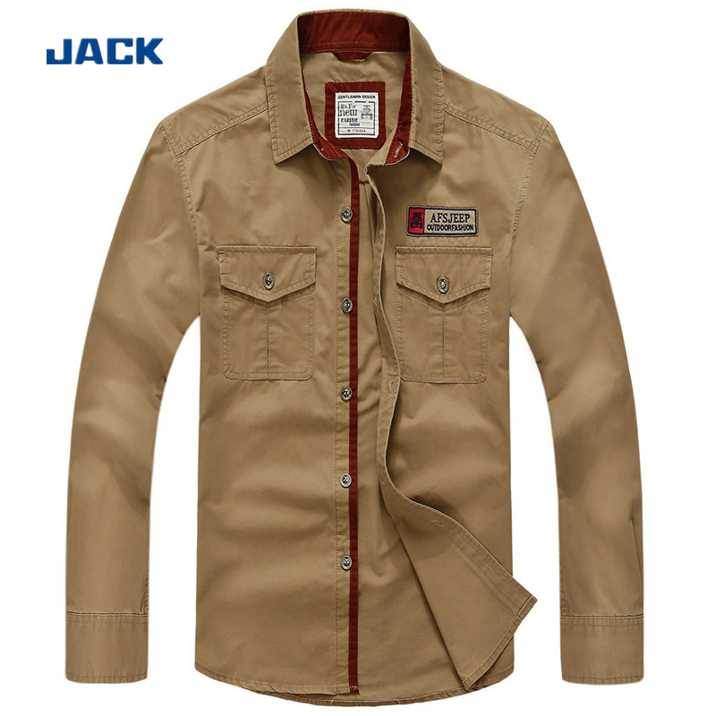 Big Size S - 5XL Spring men's casual brand dark blue shirts 2015 autumn man 100% pure cotton fashion khaki & red long shirt #698