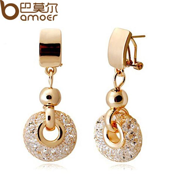 BAMOER Luxury 18k Rose Gold Drop Earrings Champagne Wire Zircon Crystal Female Fashion Jewelry JSE019