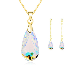New Fashion female charm Just Like Your Tenderness multi-colored crystal Water drop necklace Earring Sets