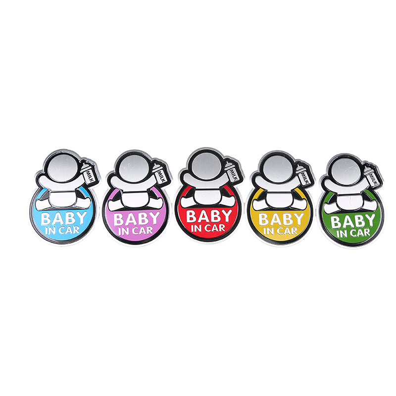 5 Colors Baby In Car Warning Sticker 3D Funny Aluminum Metal Cartoon Emblem Badge Decal For BMW Lada Kia Car Sticker And Decals(China (Mainland))