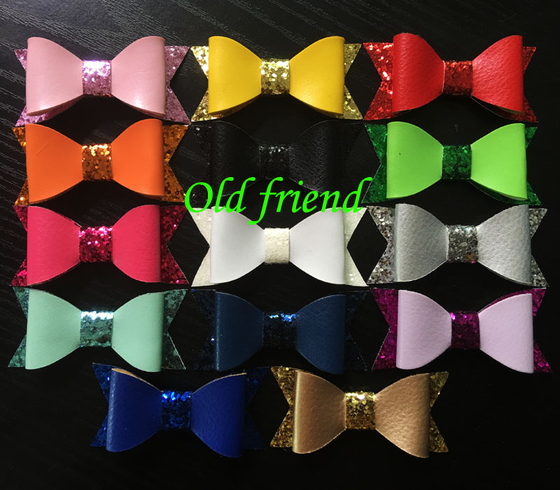 30pcs/lot, 2.8'' Newest Leather Glitter Bows without clips, Hair Baby bows 14 color hair accessories(China (Mainland))