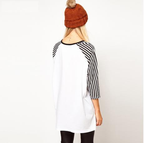 Cute Red Lip Monroe Print T-shirt/ Ladies' Loose Tee With Stripe/ Three Quarter Sleeve Topwear Women