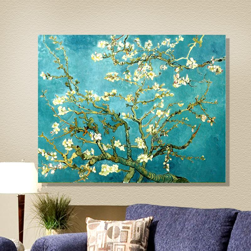2015 New acrylic Free Shipping Apricot Blossom Oil style Canvas Prints Classic Van gogh Painting Picture Printed art On Canvas(China (Mainland))