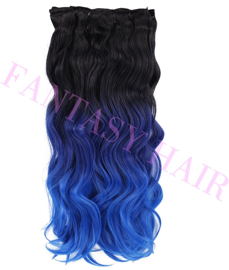8pcslot 160g Brazilian body wave blue ombre hair extensions full head synthetic clip in hair extensions heat resistant P09384-1