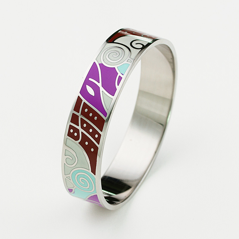 New Arrival 361L Stainless steel Enamel Bangles bracelet for women and men(China (Mainland))